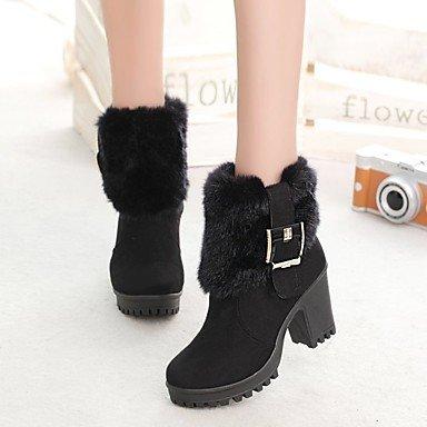 Tacón Dedo black Botas Confort Botas de Cremallera Invierno Botines Nobuck el Cuero Mujer Zapatos Puntiagudo DESY Tobillo Robusto Hasta Moda Para Rq7vC