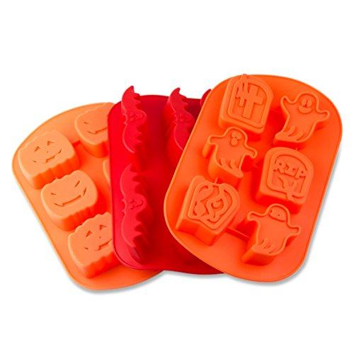 3er SET Silikonformen für Halloween, mit Geister, Fledermäuse und Kürbise, Backform für gruselige Muffins oder Brownies, Party-Eiswürfel, Geschenkidee, perfekt für Halloween, Farbe: Orange, rot