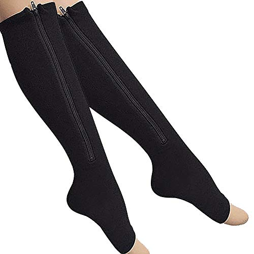 2-Pack Zipper Compression Socks for Men/Women with Open Toe, Knee High 20-30mmHg Compression Support Hose (Black, L/XL)