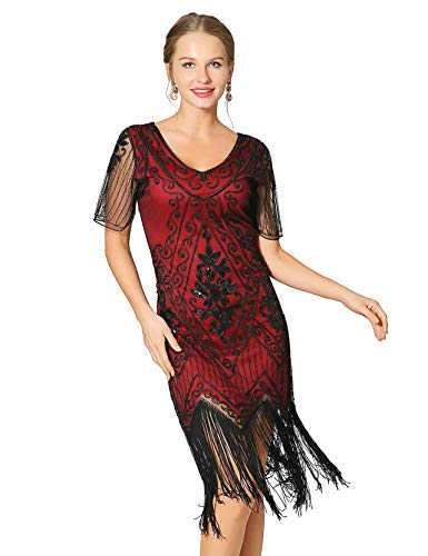 Metme Women's Roaring 1920s Gatsby Dresses Short Sleeve Dress Cocktail Flapper Dress Wine -