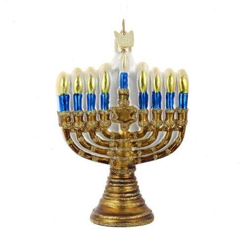 Kurt Adler Noble Gems Gold Jewish Menorah Glass Holiday Hanukkah Ornament