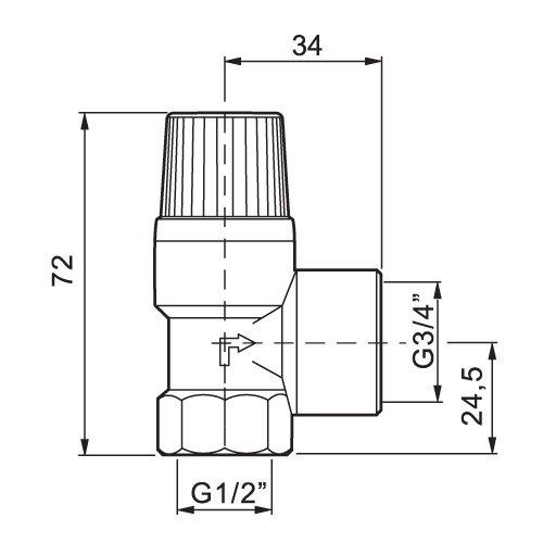 Soupape de s/écurit/é solaire 4,0 bar Femelle 1//2 x 3//4 Soupape de s/écurit/é
