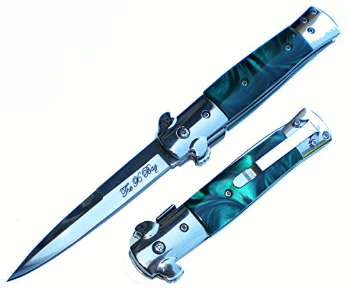Handle Michael Corleone Godfather Style Knife Assist Opening Assisted pocket knife (Pocket Jade Green)