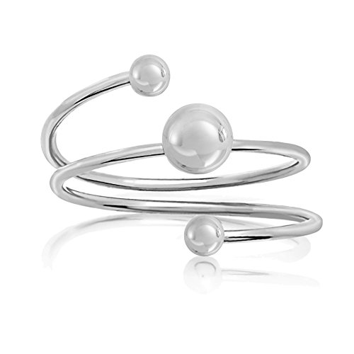 AUBREY LEE Polished Silver-Tone Triple Ball Wrap Around Ring for Women in Rhodium Plated Brass (White Size - Rhodium Ring Plated Wrap
