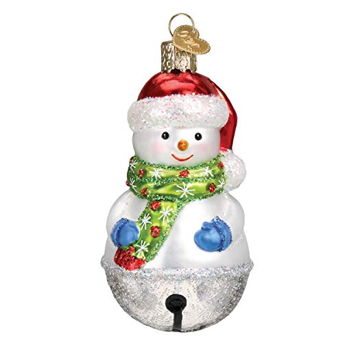 Old World Christmas Glass Blown Ornament with S-Hook and Gift Box, Christmas Collection (Jingle Bell Snowman)
