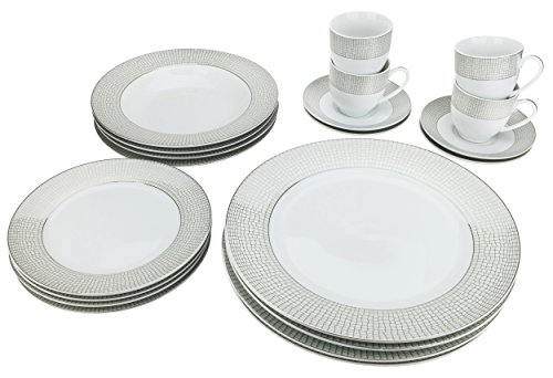 Majestic Porcelain G1330-20, Silver-Plated Dinnerware Set, Dinner Service for Four, 20-Piece Set: 4 Dinner Plates, 4 Soup Plates, 4 Dessert Plates, 4 Tea Cups with 4 Saucers (Plated European Dinner Silver)