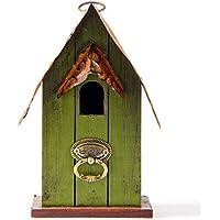 Glitzhome Rustic Garden Distressed Wooden Decorative Bird House, Green