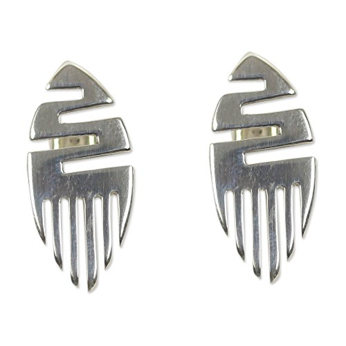 NOVICA .925 Sterling Silver Button Earrings, 'African Initiative' by NOVICA