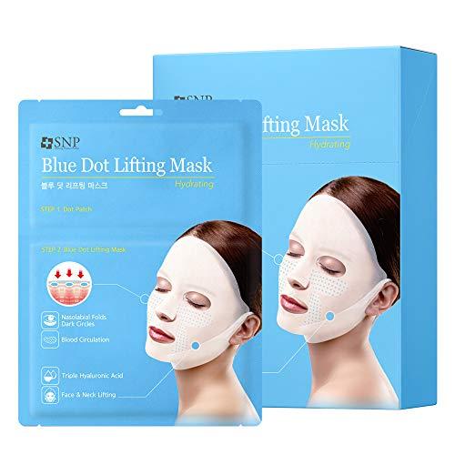 SNP | Blue Dot Tension Hydra Lifting Sheet Mask | 1 Lifting Face Mask & 4 Dot Eye Patches per Sheet | 20 Sheets