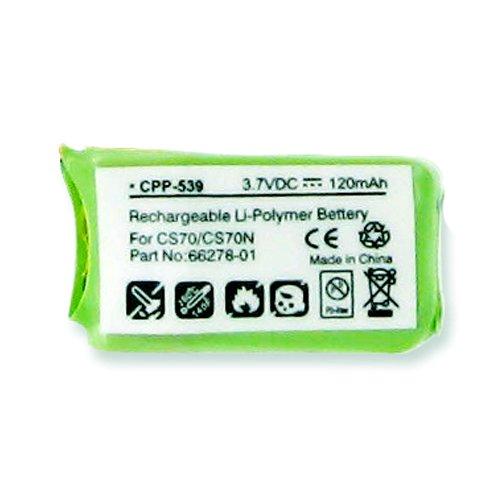 3.7 Volt, Li-Pol 120 mAh Replacement For PLANTRONICS CS70/N, 66278-01 Cordless Phone Battery