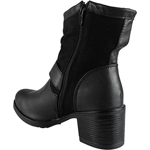 Damen Reißverschluss Mitte Hacke Armee Arbeit Biker Schnalle Knöchel Stiefel Größe 36-41 Schwarz