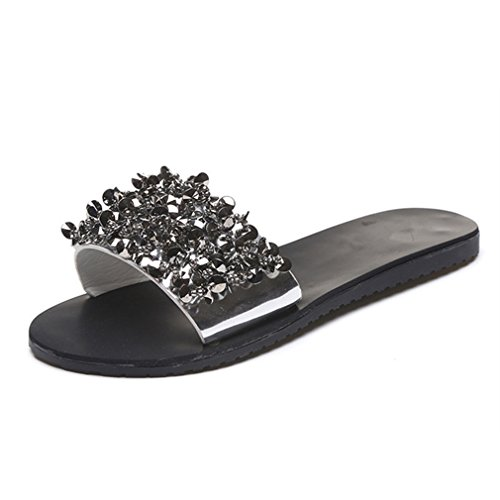 SUKULIS Sandals Flips Flops Shoes Wedges Sandals Fashion Rivet Crystal Platform Female Slides Shoes Silver 8 by SUKULIS