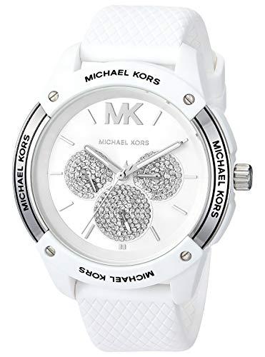 Michael Kors Women's Ryder Stainless Steel Quartz Watch with Rubber Strap, White, 20 (Model: MK6700)