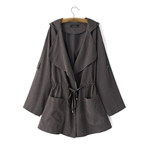 Manga Baymate oscuro Larga con Jacket Otoño Gris Coat Abrigo Outerwear Chaqueta Mujer Trench Capucha para 1FXB1