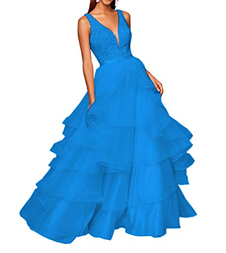 Lilyla Double V-Neck Prom Dresses Long Beaded Asymmetric Layered Tulle Evenin Party Ball Gowns Sky Blue US24W -