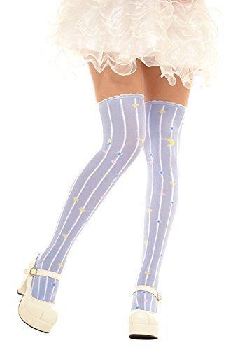 Lolta Charm Alice Collection Over Knee Socks-Moon Stars-Purple from Lolita Charm