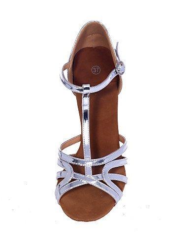ShangYi Chaussures de danse ( Argent / Or ) - Non Personnalisables - Talon Bobine - Similicuir - Latine , gold-us8.5 / eu39 / uk6.5 / cn40 , gold-us8.5 / eu39 / uk6.5 / cn40