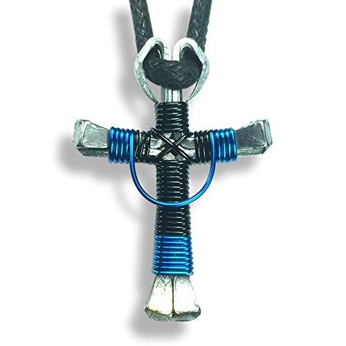 Swag Design Horseshoe Nail Cross Necklace (Swag Black & Blue)