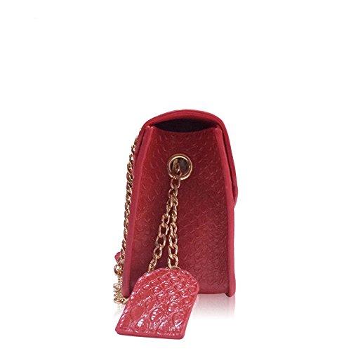 Bretelles Serrure Bag carré bandoulière Rouge Crocodile Simple Sac Loisirs Motif chaîne à Cuir rétro en Messenger qTO5TX