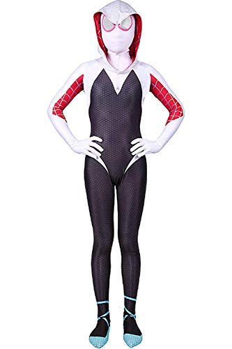Kids Toddler Spider Verse Miles Morales Gwen Jumpsuit Bodysuit Black Spider Tights Zentai Costume (Gwen, Child L/120-130 cm) -