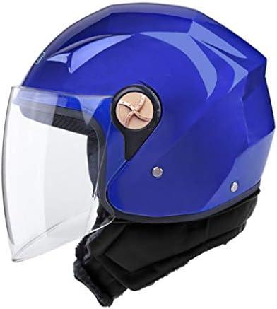 NJ ヘルメット- 電動バッテリーオートバイのヘルメットの男性と女性の四季ユニバーサルスカーフと防曇ヘルメット (色 : 青, サイズ さいず : 33x25x23cm)