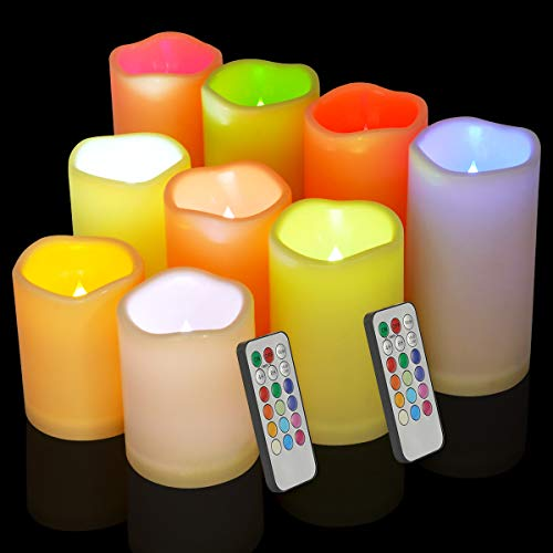 Flameless Candles Waterproof Outdoor Indoor Candles Color Changing Candles Led Pillar Candles with Timer Candle Set for…