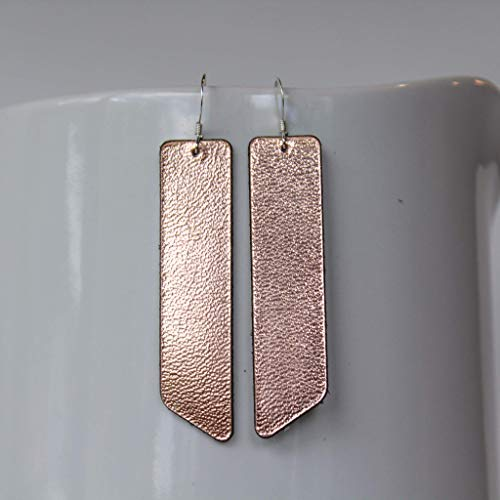 Genuine Leather & Sterling Silver Bar Earrings // Rose Gold // Joanna Gaines Inspired ()