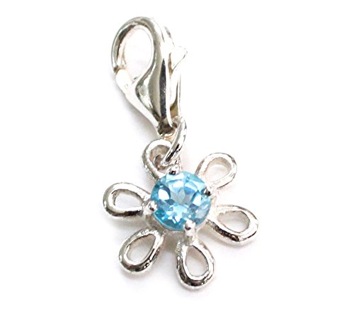 ZilverPassion Flower Blue Topaz December Birthstone Sterling Silver Charm Bracelet Lobster Clasp; Charms Pendant, Necklace