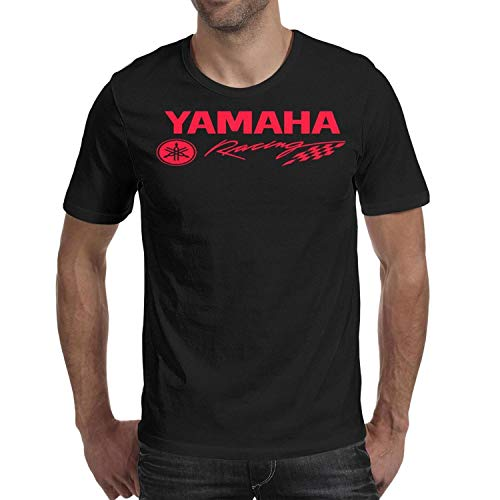 Men's Black T-Shirts Tee Cotton Comforsoft Yamaha-Racing-Logo- Short Sleeve T-Shirts Tee