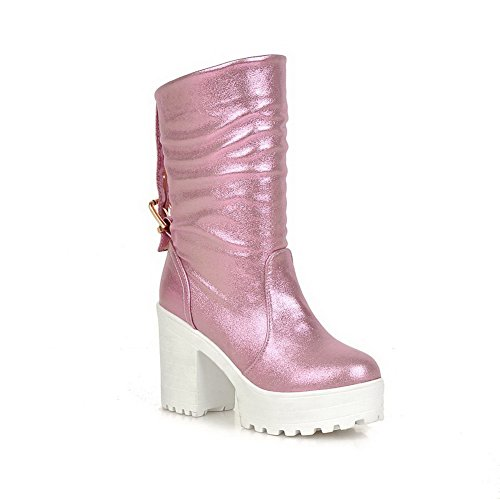 VogueZone009 Women's Closed Round Toe High-Heels Blend Materials Solid Low-top Boots, Pink, 44 ()