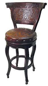 New World Trading Spanish Heritage Round Barstool with Back and Swivel, Colonial, Antique Brown