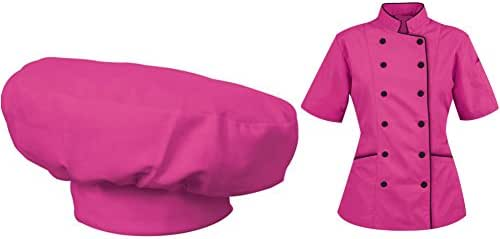 Short Sleeves Women's Ladies Chef's Coat Jackets with Chef Hats By Chef's Apparels (Pink, XXL (For Bust 42-43))