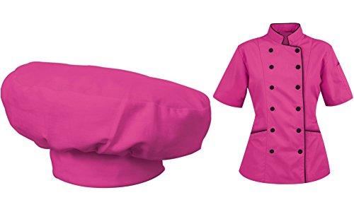 Short Sleeves Women's Ladies Chef's Coat Jackets with Chef Hats By Chef's Apparels (Pink, XL (For Bust 40-41)) ()