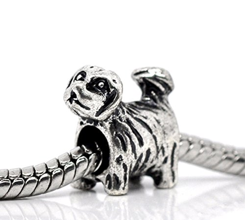 Yorkie Puppy Dog Yorkshire Terrier Charm for European Style - Charm Dog Yorkshire