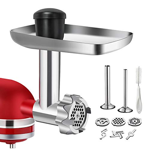 Metal Food Grinder Attachment for KitchenAid Stand Mixers, G-TING Stainless Steel Meat Grinder Attachment Included 2 Sausage Stuffer Tubes, 3 Grinding Blades, 3 Grinding Plates