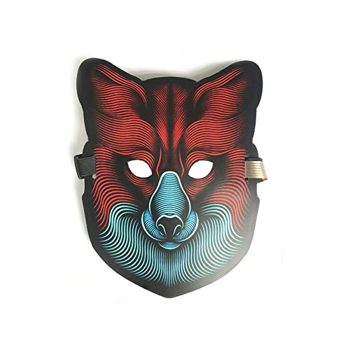EL LED Rave Mask Flashing Light Up to Music Cool & Striking Costume Mask for Party, Halloween, Nightclub, Dance and DJ (Wolf) -