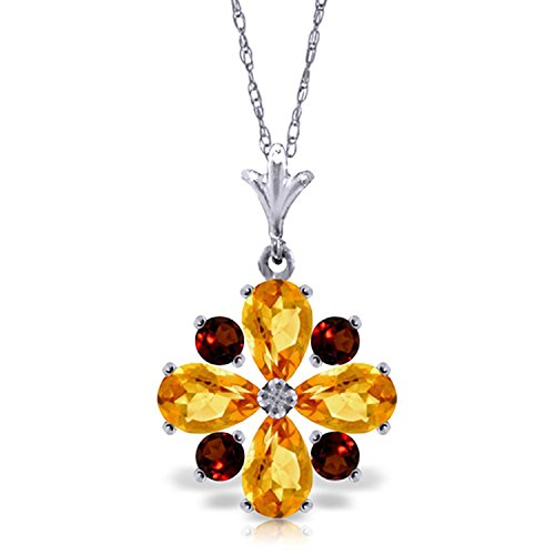 ALARRI 2.43 Carat 14K Solid White Gold All The Kings Men Citrine Garnet Necklace with 20 Inch Chain Length