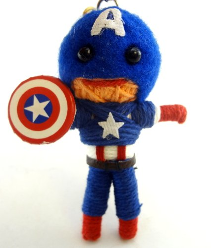 Captain America Voodoo String Doll Key Chain Handmade Superhero Super Soldier