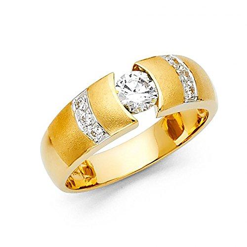 Tension Set Yellow Ring (14k Yellow Gold Tension Set CZ Men's Ring)