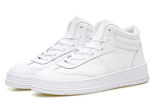 JRenok Chaussure Haute Tige Mode Basket Lacets Cuir avec Semelle Épaisse Chaussure de Sport au Printemps Blanc FsoNUUJR