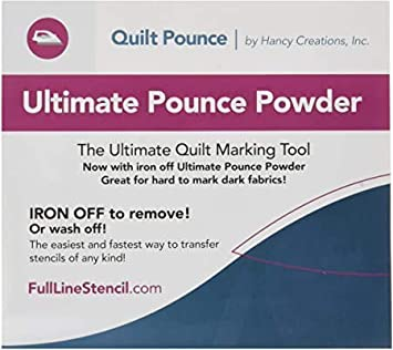 White Hancy Creations QPU Ultimate Quilt Pounce Pad Iron-Off Chalk Powder Full Line Stencils