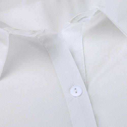 Tops Soie shirt Bluestercool Blouse Blanc Casual Longues Chemisier Mousseline Manches Femmes De T vUa0T