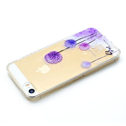Ultra Mince Transparent Soft TPU Housse Protection Silicone Cristal Clair Case Pissenlit Amants Rose Etui Cover Coque pour Apple iPhone 5 / 5S / SE (non applicable iPhone 5C)