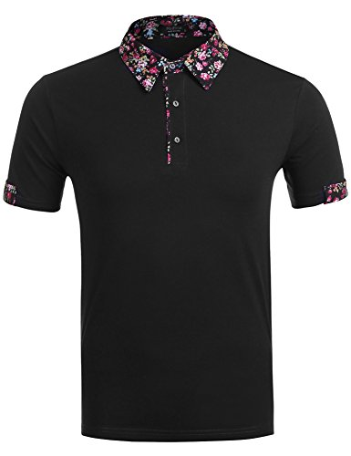 Floral Fabric Button (Zuckerfan Men's Short Sleeve Polo Floral Button Collar Patchwork Classic Fit Polo Shirts(Black,XXL))