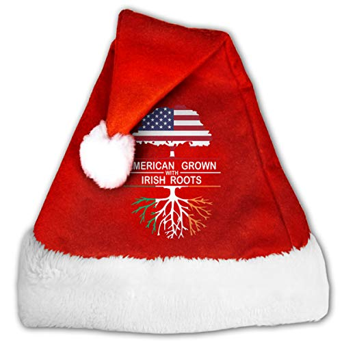 (WAN1W0 American Grown with Irish Roots-1 Christmas Hat, Red&White Xmas Santa Claus' Cap for Holiday Party)