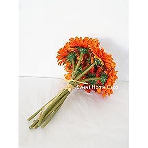 Sweet Home Deco 13'' Silk Artificial Gerbera Daisy Flower Bunch (W/ 7stems, 7 Flower Heads) Home/Wedding (Orange) 3