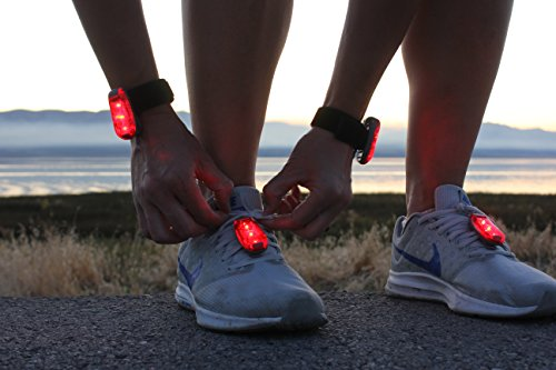 ReflecToes LED Safety Light Clip Attach - Set of 2 - Night Visible Bio-Motion for Walking, Runners, Cycle - Attach To Arms or Legs For (Flashing Rectangle Light)