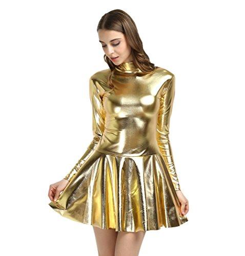WOLF UNITARD Women's Shiny Wet Look Mini Dress Cosplay Costume Large Gold