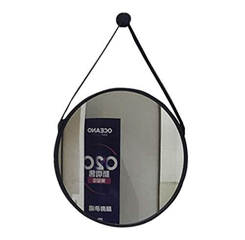 Mirror Espejo, Espejo de baño montado en la Pared, Espejo Redondo con Marco de Metal, Dorado/Negro