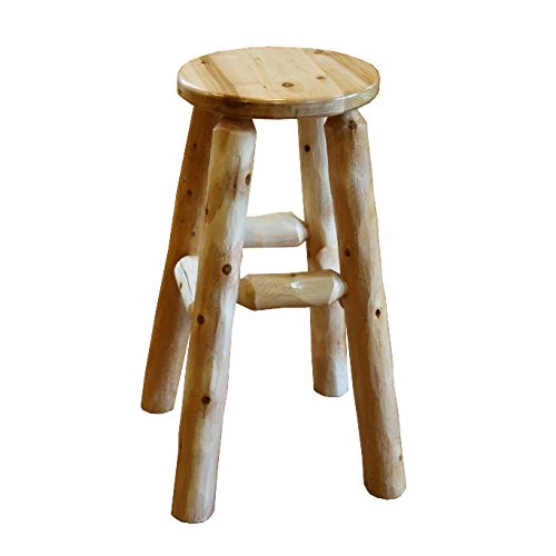 Furniture Barn USA White Cedar Log Kitchen Stool - Bar Height